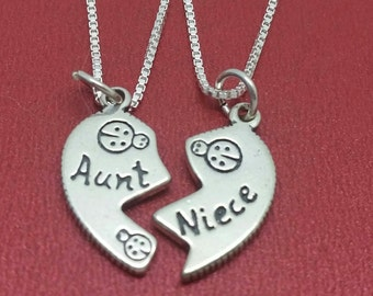 Sterling Silver Aunt Niece Necklaces set to Share Auntie 925 Charm Pendants and Chains