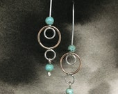 Hringr sterling silver, 14k rose gold-filled and natural turquoise circular everyday earrings, a perfect bridesmaid or bridal party gift