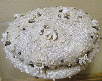 1950s Embellished Ivory Hat
