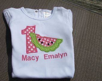 watermelon t shirt, pink watermelon birthday shirt, summer birthday, 2nd birthday shirt, 1st birthday t shirt, one in a melon birthday