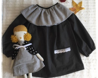 Girls, Tunic, Blouse, Top, Peasant mini dress, black & white polka dots, long sleeves, pocket, comfortable, classic, timeless, party outfit