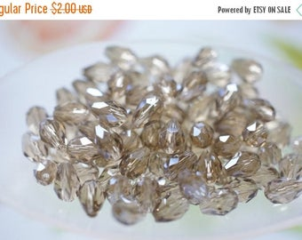 MAY SALE Czech Glass Faceted Smokey Quartz Grey Faceted Rice Shape Beads - 5mmx3mm - 30 pcs