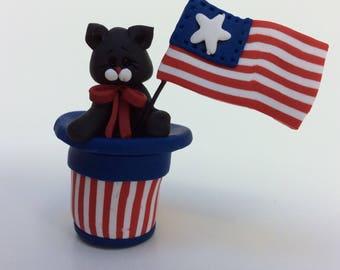 Polymer Clay Patriotic Cat in Hat