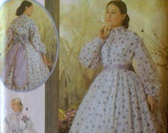 Civil War Era Dress Pattern Simplicity 5442 Fashion Historian Martha Mccain Misses Civil War Era Dress Costume  Misses size 14 16 18 20