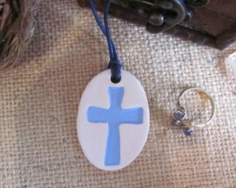 Essential oil diffuser, cross oil diffuser necklace, Aromatherapy pendant, ceramic clay diffuser