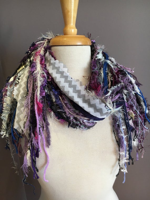 Art Scarf - Fringie in Purple zig zag, Fringe Scarf handmade art fringe scarf, grey white aqua purple, abstract scarf, funky scarf, eclectic