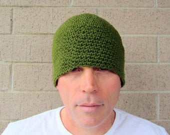 men's cotton beanie/ olive green crochet