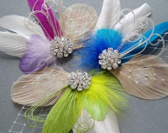 Wedding Hair Piece hairpiece Feather Fascinator Bridal Hair Clip Hair brides comb bridesmaid hairpiece - MANY COLORS AVAILABLE
