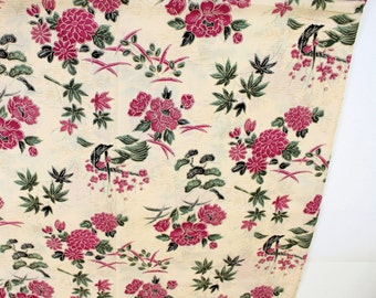 Pink and Ivory Asian Cotton Fabric, Pink and Green Flowers on Ivory Background, Floral Oriental Fabric, 3 yards available, Quiltsy Destash