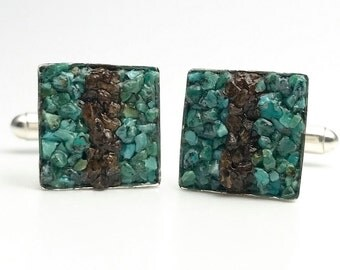 Mosaic Cuff Links - Turquoise and Bronzite