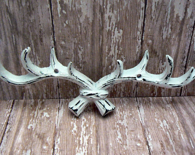 Deer Antlers Wall Hook Cast Iron Classic White Shabby Elegance Cabin Hunter Rustic Man Cave Points Jewelry Leash Hat Kitchen Nursery Decor