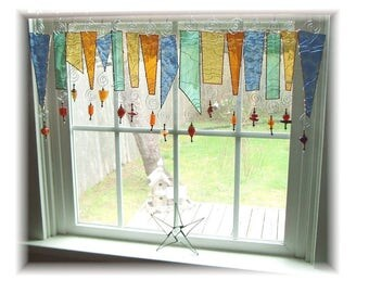 Softest Seasons NUMBER ONE Stained Glass Window Treatment Kitchen Valance Curtain