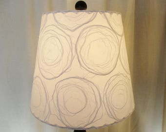 White Circles Lamp Shade, Modified Drum Modern Lampshade, Washer Top Shade, Sheer Mulberry Paper Shade, White Circles Unryu Paper Lamp Shade