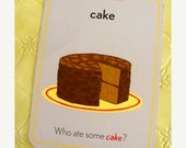 ON SALE Huge Vintage Kitsch Cake Flash Card Kitchen Decor Display Double Sided French Cake Last One