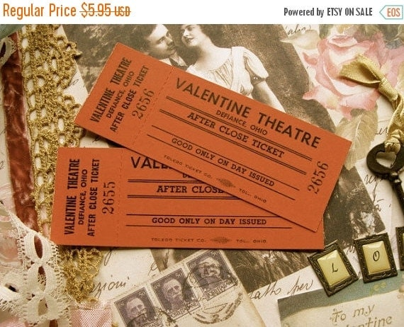 ON SALE Vintage Valentine Antique Valentine Tickets Light Cardboard Mint Condition
