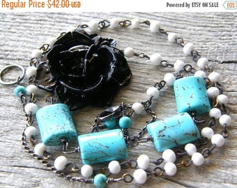 20% OFF Black Flower Turquoise and Vintage Bead Chain Necklace, Rosary Style Necklace, Aqua and White Necklace