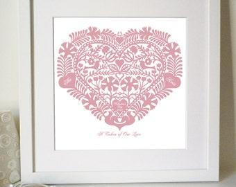 Personalised Romantic Heart Love Token Print