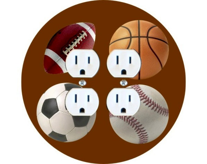 Sport Ball Double Duplex Outlet Plate Cover