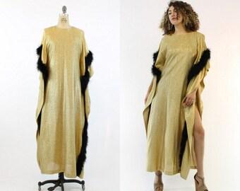 70s Dress Gold Caftan S M L / 1970s Vintage Gold Dress Marabou Feathers / La Bohème Gown