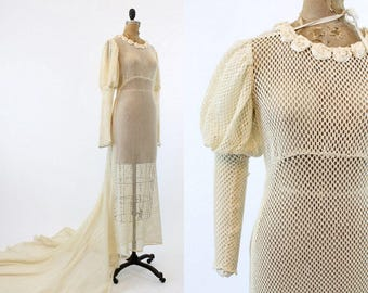 30s Wedding Dress Mesh Small  / 1930s Leg O Mutton Sleeves Train Bridal Dress / Sweet as Honey Dress