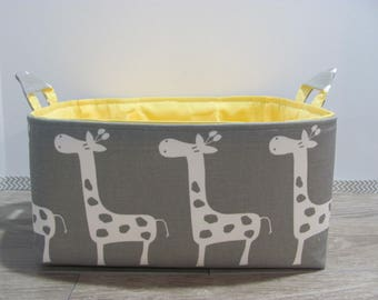 "Diaper Caddy - Fabric Storage Basket - 11"" x 11"" Organizer Bin - Storage Box - Nursery Decor - Laundry - Diaper Bag - Baby Gift - Giraffes"
