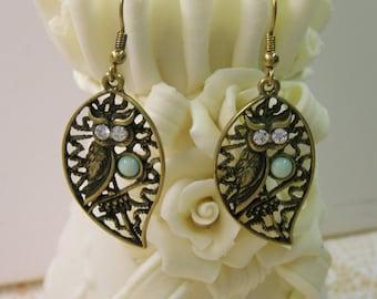 """Brass OWL Earrings, Gemstone, Antique Brass Finish , Dangle 1 1/4"""" - Fish Hooks, 1990s Earrings"""