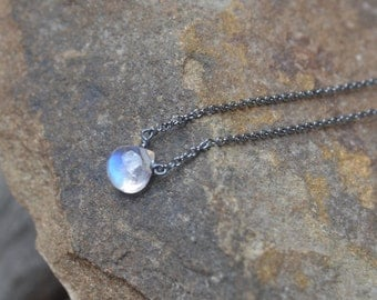 Rainbow Moonstone Briolette Necklace Oxidized Silver June Birthstone