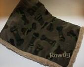 Personalized Pet Blanket-Dog Bones; Dog, Puppy- Camo, Army Green, Tan Sherpa