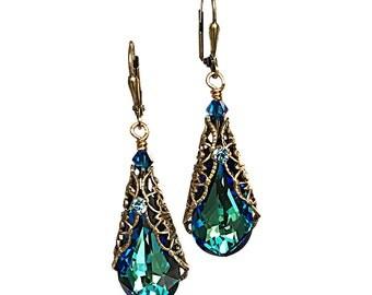 Antique Bronze Bermuda Blue Teardrop Filigree Pendant Dangle Earrings with Crystal from Swarovski
