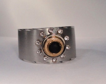 Reclaimed Vintage Silver tone metal Cuff Bracelet with Lucite and Rhinestones.