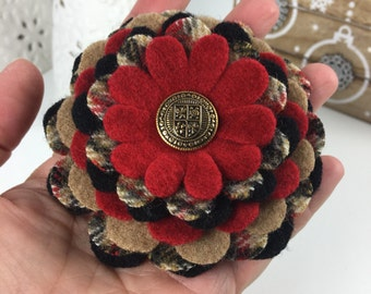 Wool Flower Brooch Pin - Red Black Camel Plaid with Gold Crest Button Center
