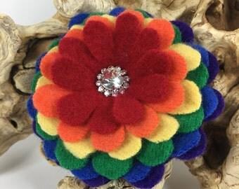 Rainbow Cashmere Flower Brooch Pin with Rhinestone Sparkle Center ROYGBIV Red Orange Yellow Green Blue Purple