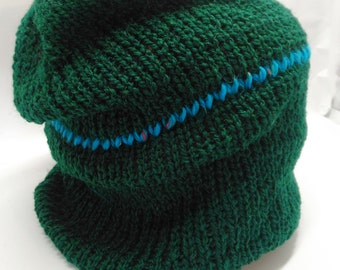 Evergreen Slightly Slouchy Hat with Bright Blue Stripe