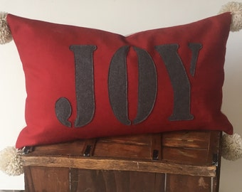 Red and Grey Wool  JOY Christmas Pillow Cover  with Pom Pom's  16x26  Ready to Ship  Farmhouse / Moroccan / Lodge / Moutain / Modern