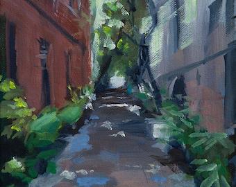 Downtown Charleston Alley, South Carolina, Carolina Coast, Cityscape, Original Painting by Clair Hartmann