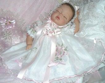 Sweet Roses White Organza Embroidered DRESS for REBORN Doll or BABY 0-3 mth
