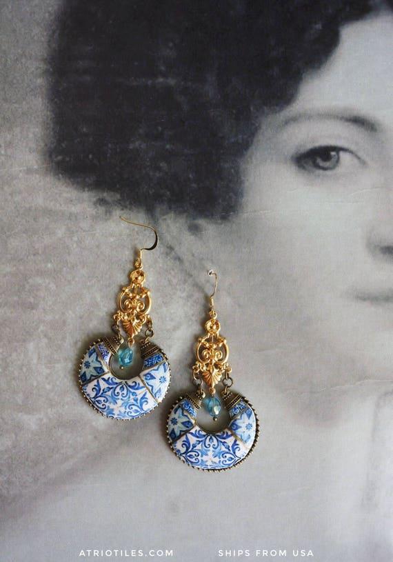 Earrings Antique Azulejo Tile Replica Blue Chandelier  - Church of Mercy PoRTO 1590 Majolica Boho - Talavera Italy Mexico Morocco REVERSIBLE