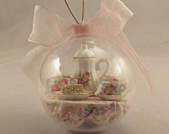 Miniature Tea Party Christmas Ornament with Porcelain Tea Set and Scones