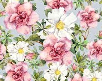 Dollhouse Miniature Computer Printed Fabric Watercolor Pink Roses Floral 1:12