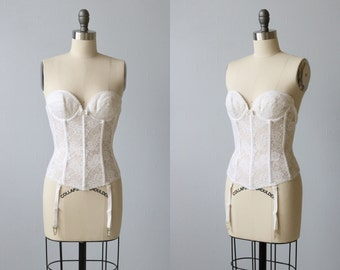 Vintage White  Push Up Strapless Corset Girdle Shapewear/ White Corset / Push Up Corset / Garter Belt Clips