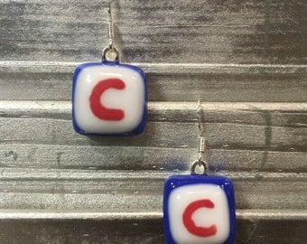 Chicago Cubs Earrings - Fused Glass