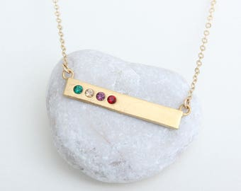 Gold Birthstone Bar Necklace stamped with Blessed. Count your blessings birthstone bar necklace. Perfect Family Necklace!