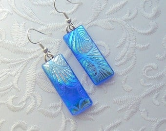 Bohemian Earrings - Boho Earrings - Dichroic Fused Glass Earrings - Etched Glass - Zen - Zentangle - Fused Glass - Dichroic Glass 2854