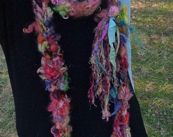 hand knit soft art yarn extra long loop gypsy flower scarf - gypsy joy party scarf