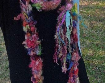 reserved - hand knit soft art yarn extra long loop gypsy flower scarf - gypsy joy party scarf