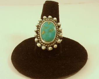 1950's, silver and turquoise hand made ring