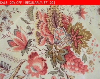 Pretty Antique Fabric French Cotton Jacobean Floral