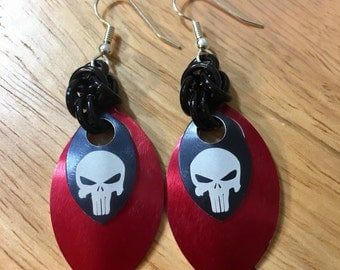 Punisher Skull Chainmaille and Scalemaille Earrings in Black and Red