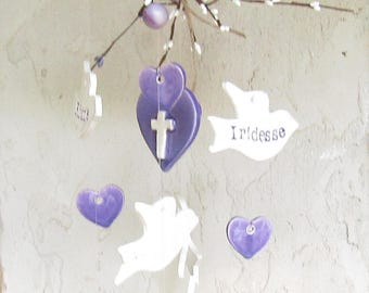 Memorial  Wind Chime Personalized Hearts and Doves Memorial  Wind Chime Personalized