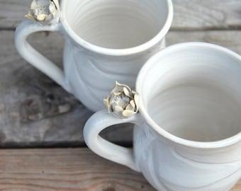 """Stoneware Tea Cups set """"White Ninfea""""  - 2 teacups - Handmade  Stoneware Ceramics  - white - mug"""